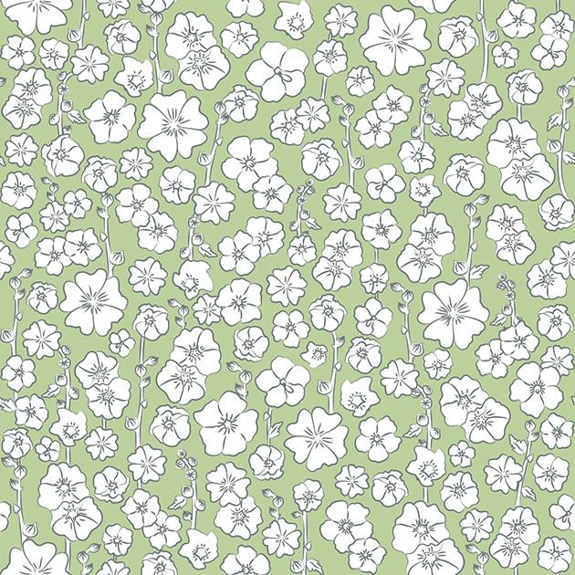 ROSES TRÉMIÈRES PRINTEMPS (vert clair/gris)