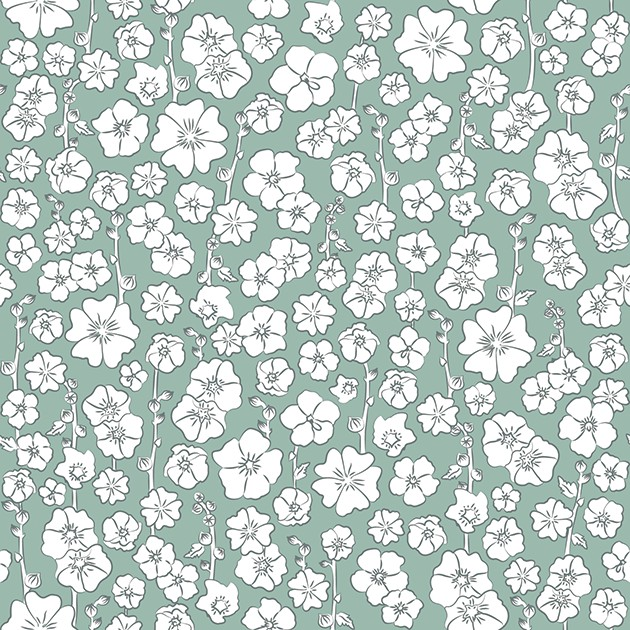 ROSES TRÉMIÈRES (vert/gris)